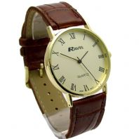 Ravel Mens Classic Quartz Watch Brown Strap Gold Face I-XII R0129.12.1